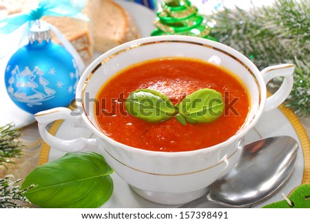 cream of red pepper and tomato soup with basil for christmas dinner