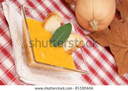 Cream of squash soup in a glass plate with toasted bread and leaf bay. A whole pumpkin and autumn leaves are out of focus in the background. Selective focus, shallow DOF.
