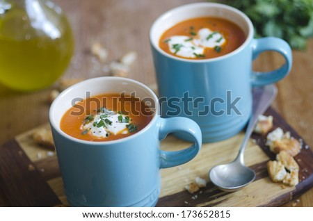 Cream of tomato soup with chives - stock photo