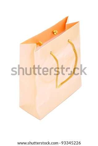 Cream paper bag isolated with clipping paths - stock photo