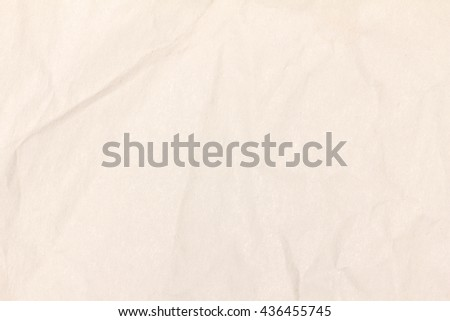 Cream paper sheet. Closeup recycled crumpled cream paper texture. Recycled crumpled cream paper background with copy space for text or image. - stock photo