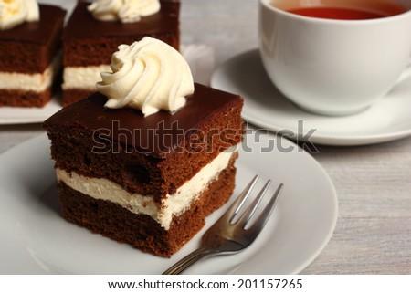 Cream Pie. Chocolate Sponge Cake filled with whipped cream. - stock photo