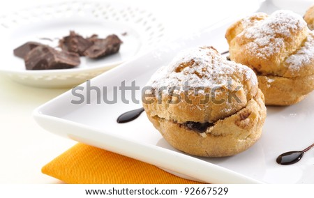 Cream puff with chocolate