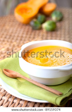 cream pumpkin soup - stock photo