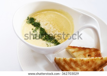 Cream soup cheese on white plate studio shot