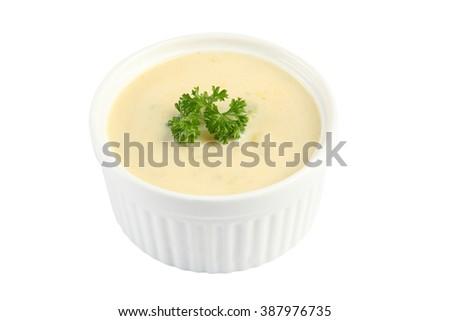 cream soup isolated on white background - stock photo