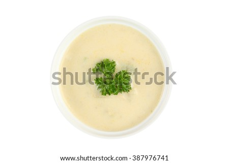 cream soup isolated on white background