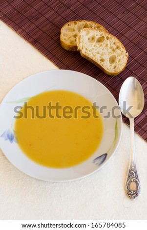cream-soup of red lentils with herbs and spices