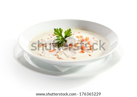 Cream Soup with Chicken Fillet and Cream Cheese - stock photo
