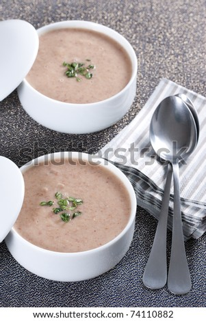Cream soup with mushrooms and bean