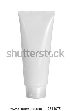 Cream Tube white plastic product with clipping path
