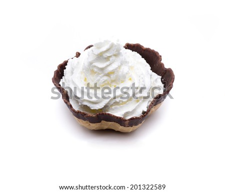 cream with strawberries, in a chocolate biscuit surrounded