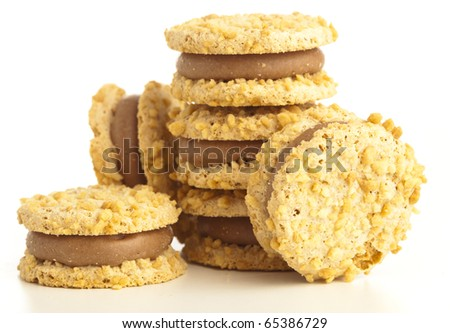 creamy biscuit isolated on a white background - stock photo