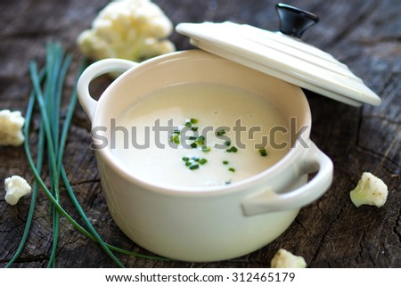 Creamy cauliflower soup  - stock photo