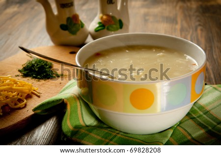 Creamy Chicken Noodle Soup in a bowl - stock photo