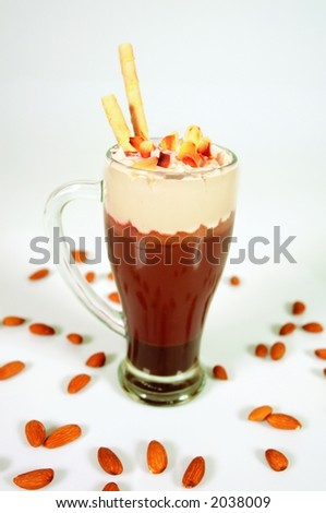 Creamy chocolate and nuts smoothie made with milk