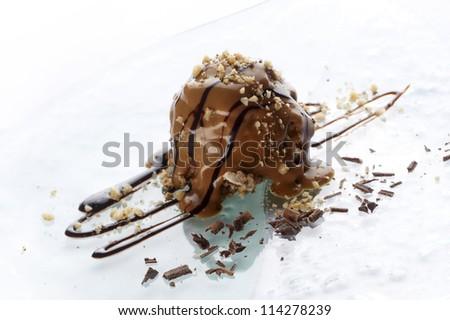 Creamy chocolate ball with walnut - stock photo
