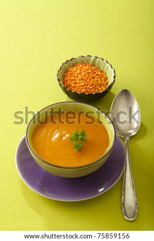 Creamy lentil soup with red lentils - stock photo