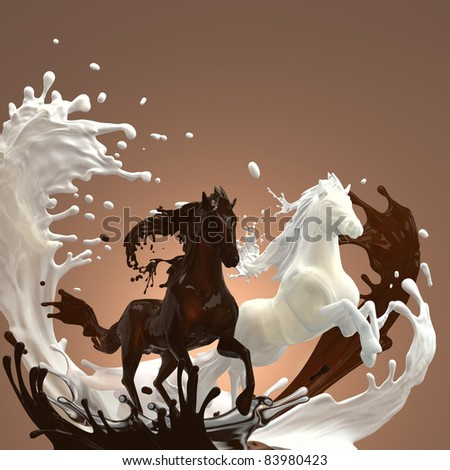 creamy milky and hot brownish chocolate liquid horses running gallop over mixed splashes making bunch of drops - stock photo