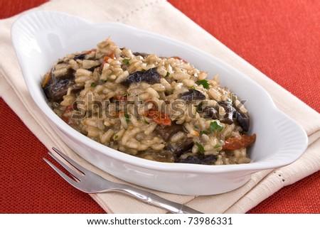 Creamy risotto with portobello mushrooms and sun dried tomatoes. - stock photo