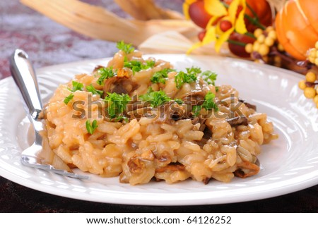 Creamy risotto with wild porcini mushrooms and fresh herbs. - stock photo