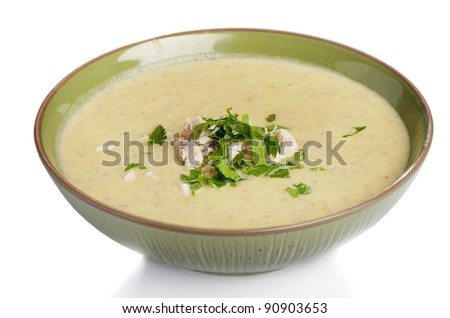 creamy soup with parsley - stock photo