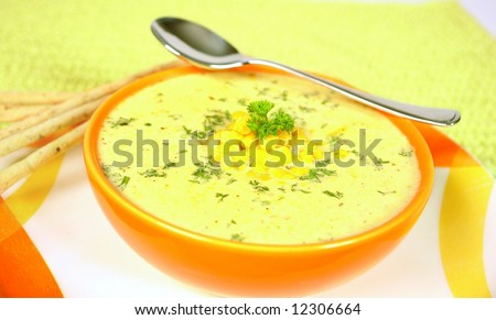 Creamy sweet corn soup - stock photo