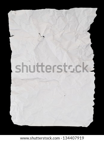 Creased and wrinkled crumpled white paper sheet isolated over black background