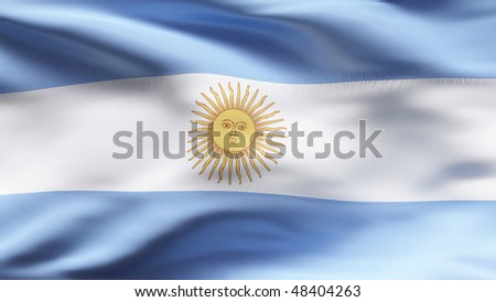 Creased Argentinian cotton flag with visible stitch - stock photo