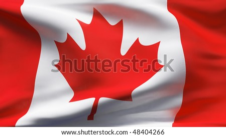 Creased Canadian cotton flag with visible stitch - stock photo