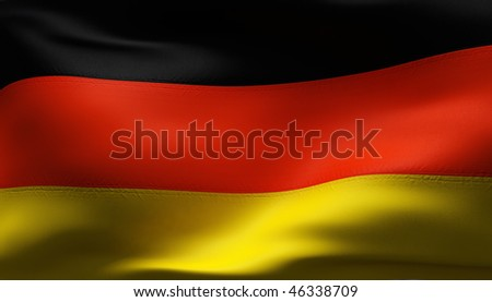 Creased German cotton flag with visible stitch - stock photo