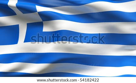 Creased Greek  cotton flag with wrinkles and seams - stock photo