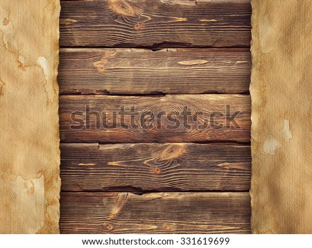 Creased handmade paper on wooden wall background - stock photo