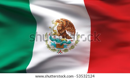 Creased Mexican cotton  flag with wrinkles and seams - stock photo