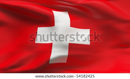 Creased Swiss cotton flag with wrinkles and seams - stock photo