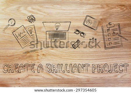 create a brilliant project: desk full of inspiration, concept of brainstorming and developing new ideas - stock photo