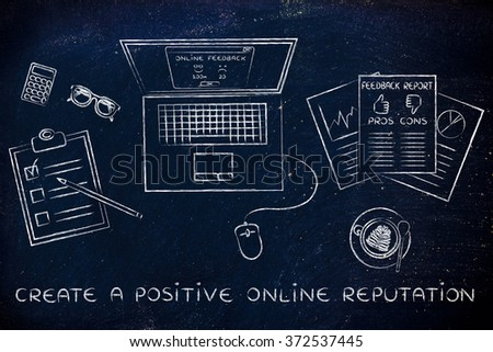 create a positive online reputation: laptop and documents with feedback and strategy - stock photo