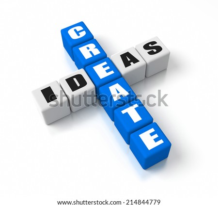 Create Ideas crosswords. Part of a business concepts series. - stock photo