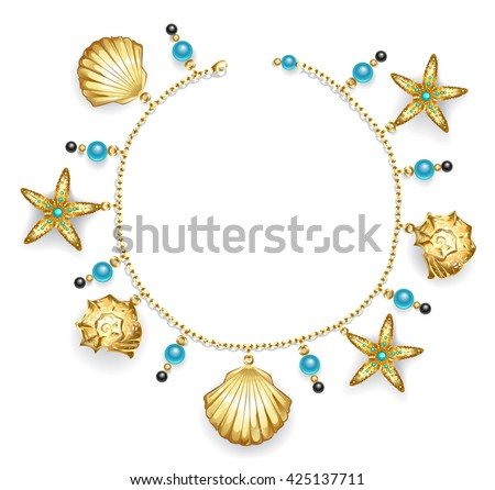create one bracelet of gold chain decorated with golden sea shells, starfish and turquoise beads. Fashion jewelry. Gold necklace.  - stock photo