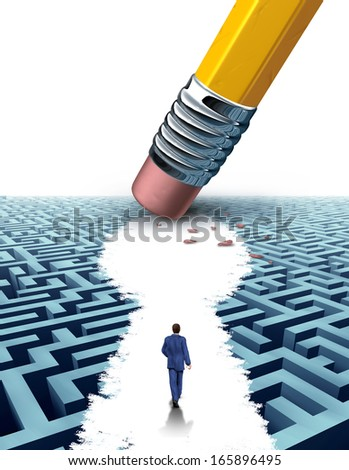 Create the key leadership Solutions with a businessman walking through a maze opened up shaped as a keyhole by a pencil eraser as a business concept of innovative thinking for financial success. - stock photo