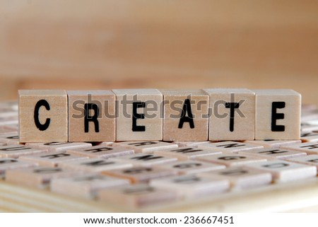 create word background on wooden blocks - stock photo