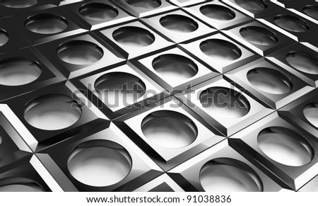 created holes in the l futuristic metal - stock photo