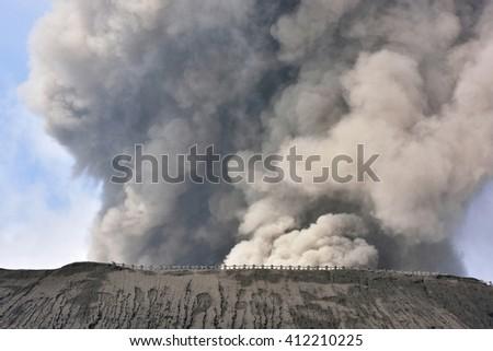 Creater of Bromo volcano at sunrise,Tengger Semeru National Park, East Java, Indonesia - stock photo