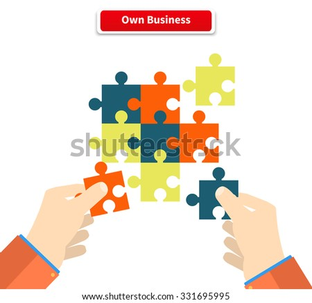 Creating or building own business concept. Puzzle piece, construction and development, build construct, idea and success, solution and growth, challenge and jigsaw illustration. Raster version