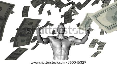 Creating Profit or Money Profits Easily With Man - stock photo
