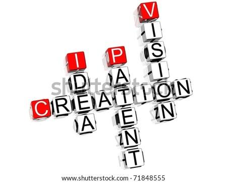 Creation Crossword on white background - stock photo