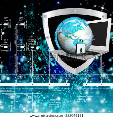 Creation innovative technologies security in Internet.Safety connection concept - stock photo