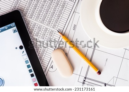 Creation of the design project, the work for your tablet - stock photo