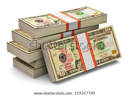 Creative abstract banking, money making and business success financial concept: heap of stacks of 10 dollars banknotes isolated on white background - stock photo