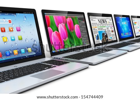 Creative abstract business communication, computer technology and wireless mobility internet web concept: row of laptop notebook PC with colorful interfaces with icons and buttons isolated on white - stock photo